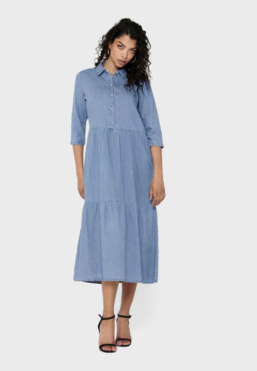 Tiered Denim Shirt Dress
