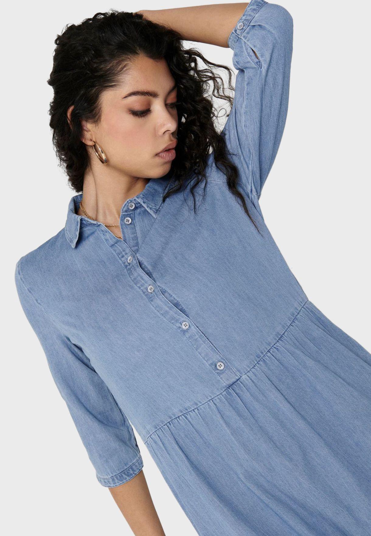 Tiered Denim Shirt Dress