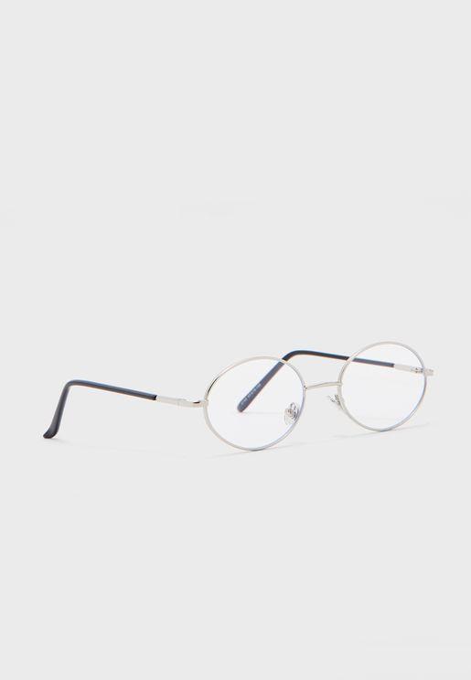 نظارة بعدسات دائرية شفافة