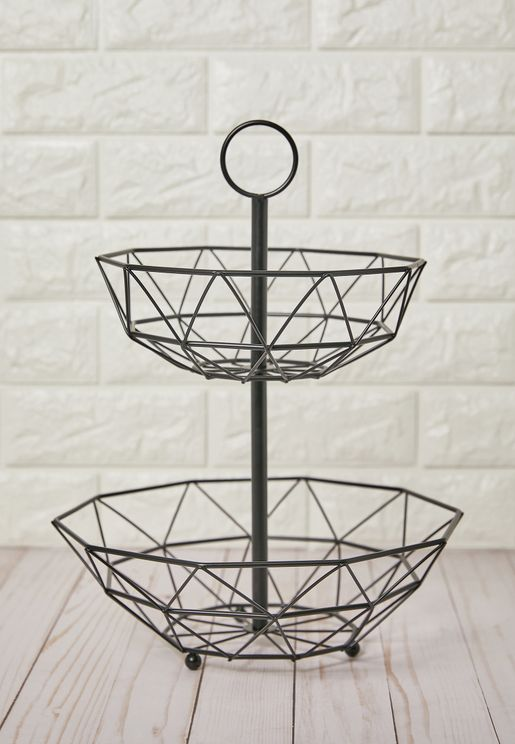 2-Tier Countertop Fruit Basket Stand