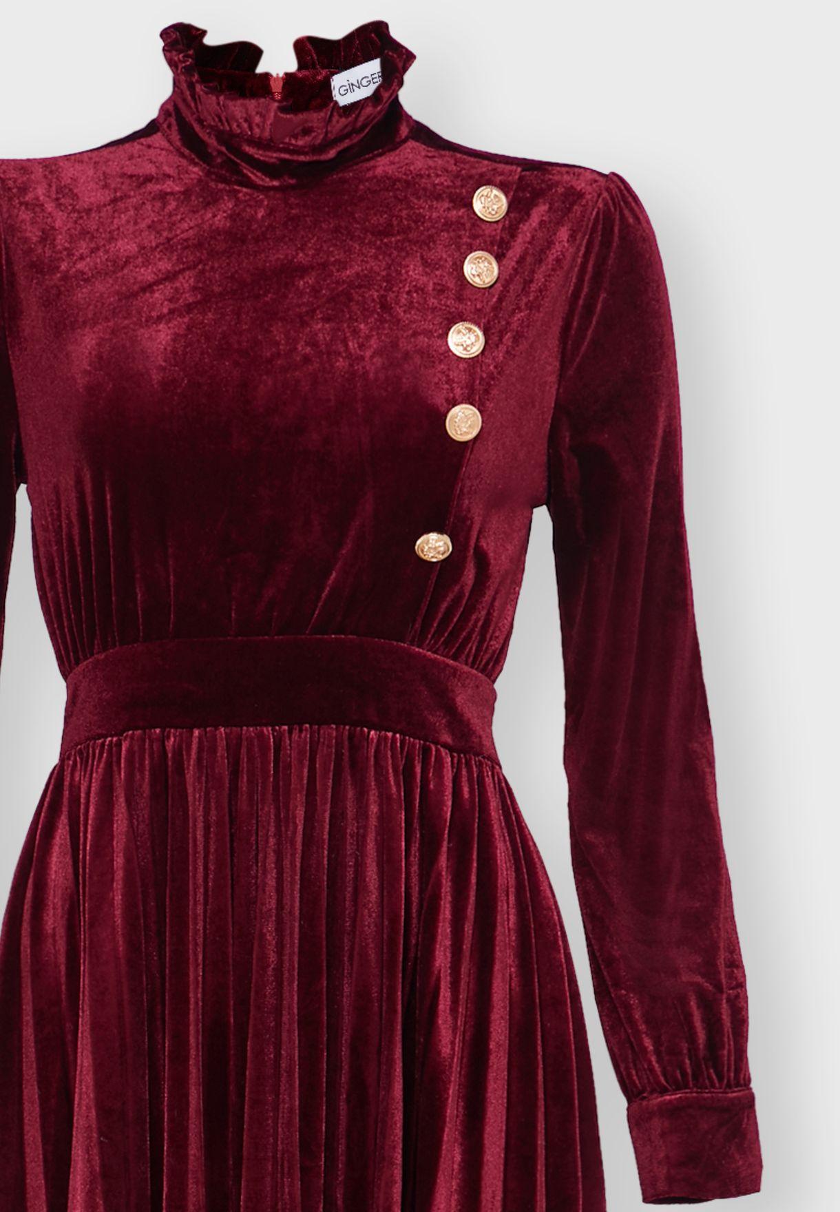 Button Side Pleated Velvet Midi Dress