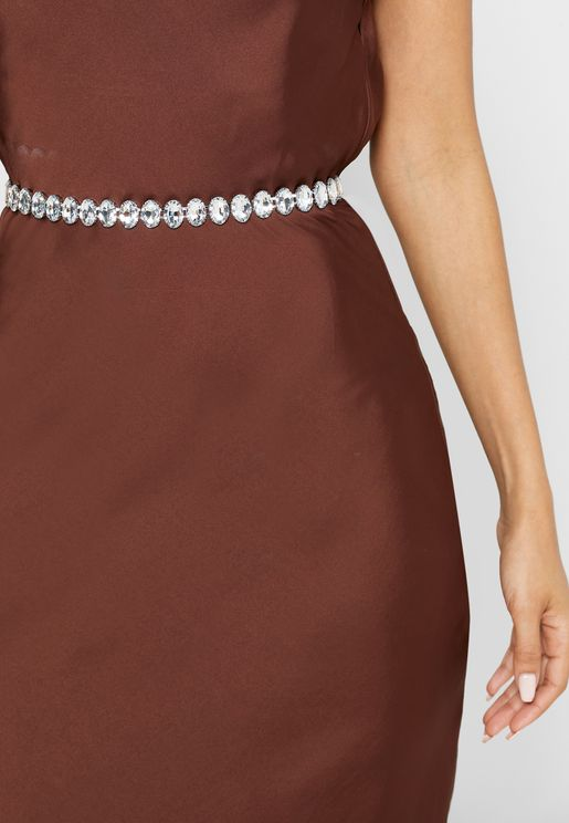 Round Diamante Chain Belt