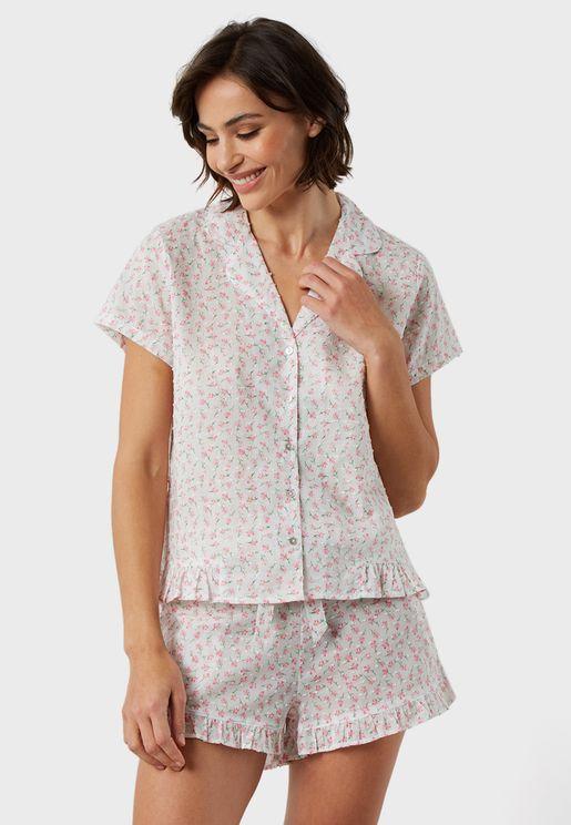 Ruffle Trim Printed Shirt & Shorts Set