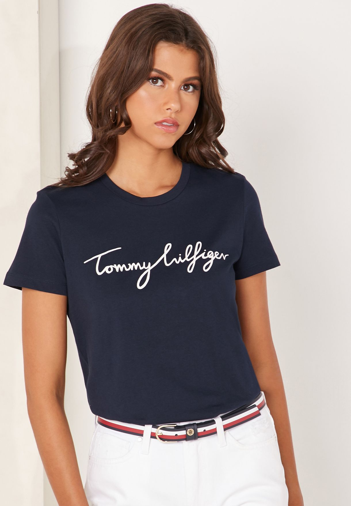 5c766e82a Shop Tommy Hilfiger navy Crew Neck Logo T-Shirt WW0WW24967 for Women ...