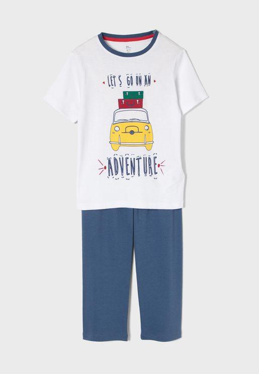 Kids Let's Go On Adventure Pyjama Set