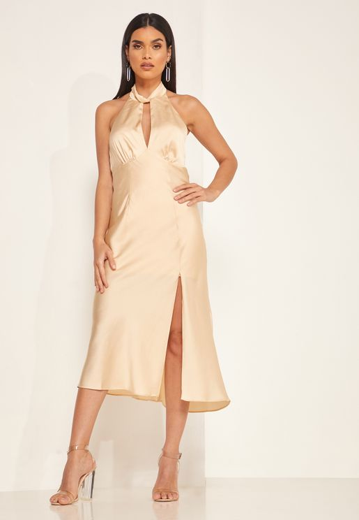 Gabriella Front Cut-Out Halter Neck Slit Dress