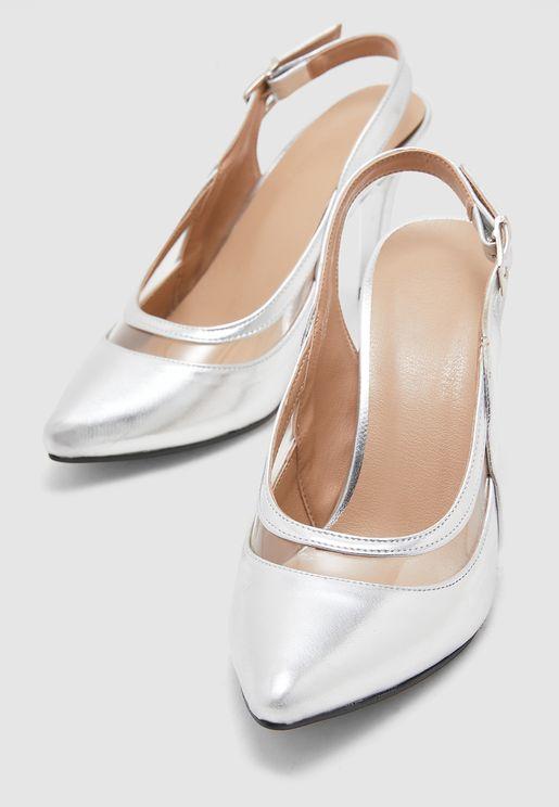 Ankle Strap Pump - Silver