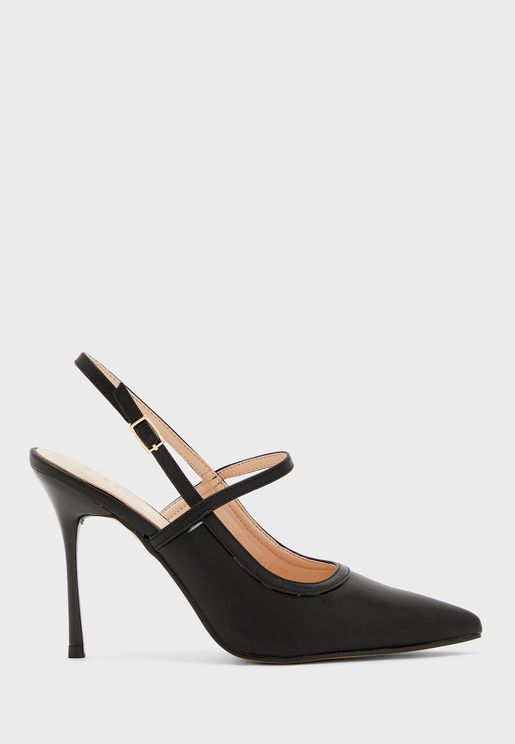 Pointed Slingback Strap Detail Stiletto Pump