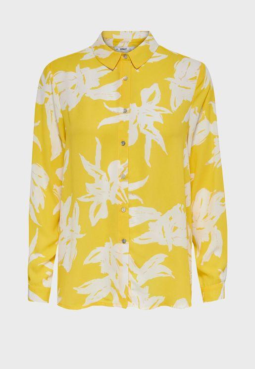قميص مطبع بحافة متباينة الطول