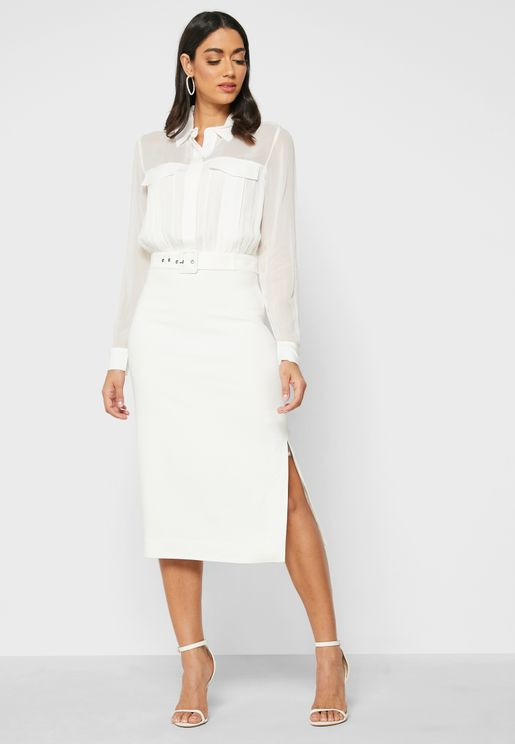 Farah Side Slit Shirt Dress
