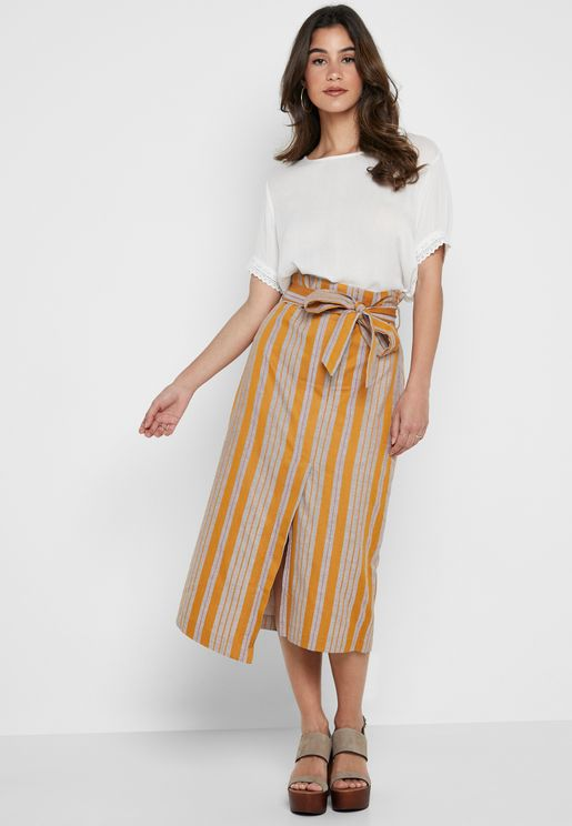 Striped Belted Midi Skirt