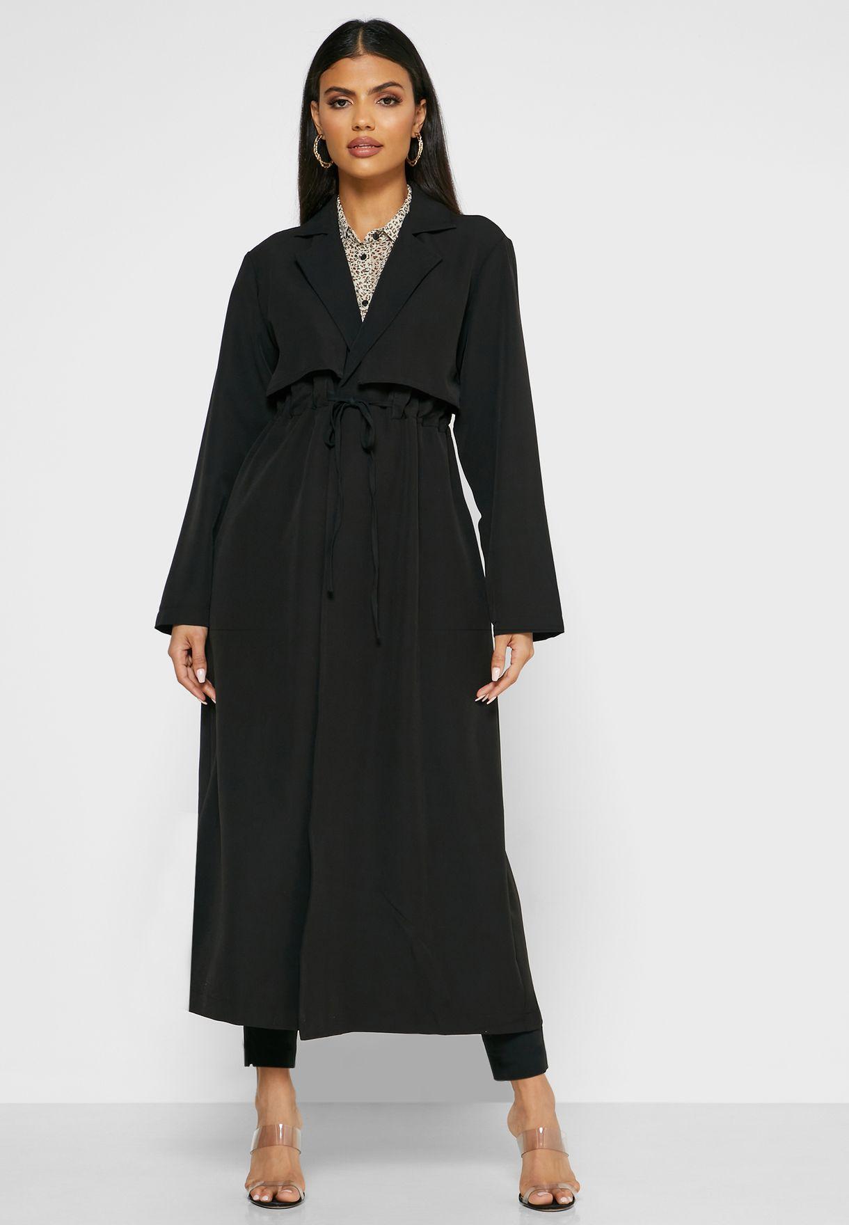 معطف طويل بأربطة خصر