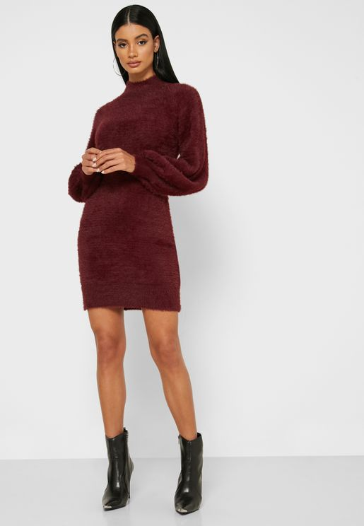 Bishop Sleeve High Neck Dress