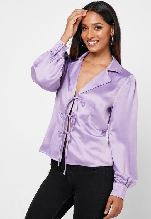 Front Tie Ruched Cuff Top