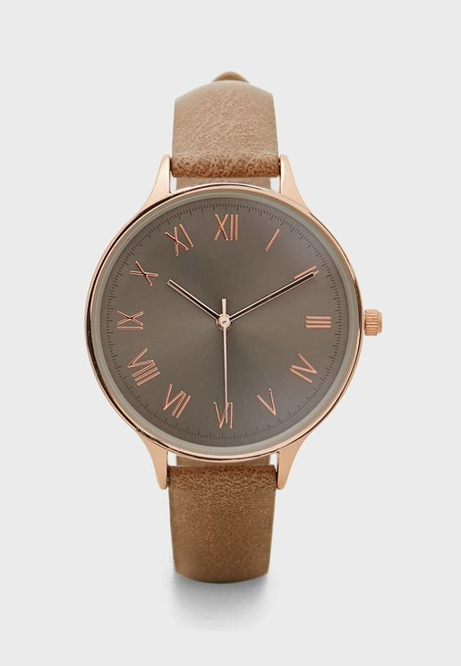 Choc Face Tonal Dial Strap Watch