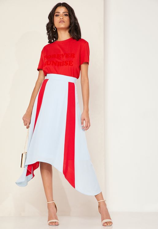 Charlie Colourblock Asymmetric Skirt