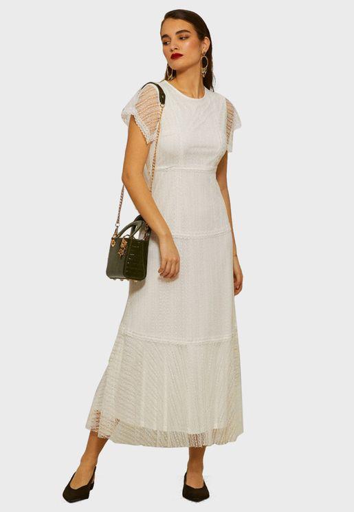 Lace Detail Mesh Dress