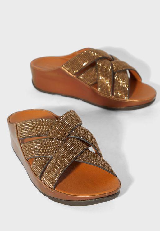 Lattice Cross Wedge Sandal