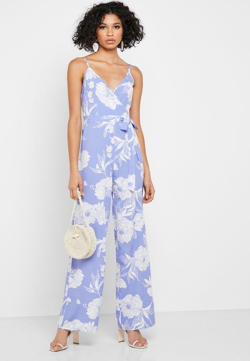 Floral Print Wrap Front Jumpsuit