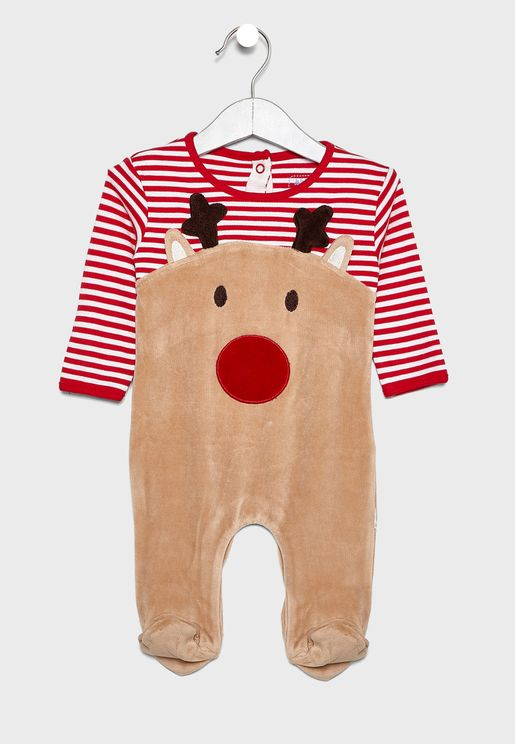 Infant Reindeer Striped Sleepsuit