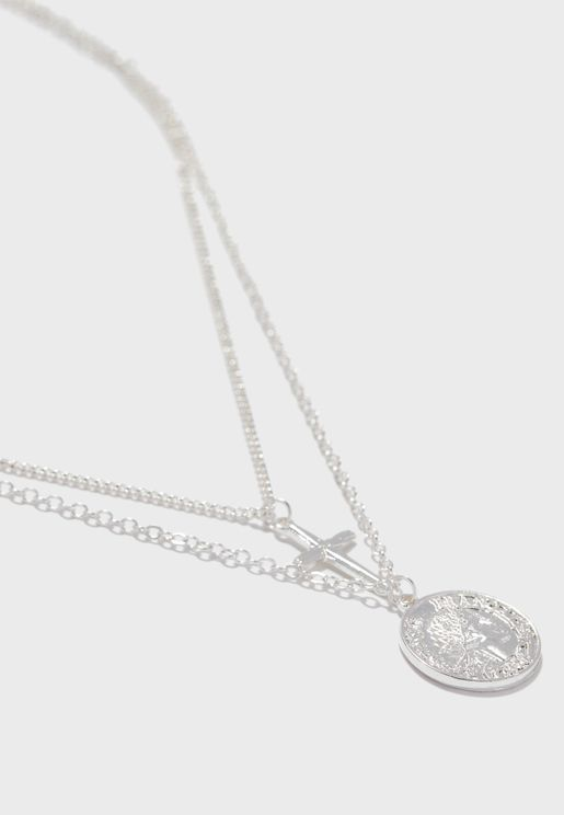 Coin & Cross Layered Necklace