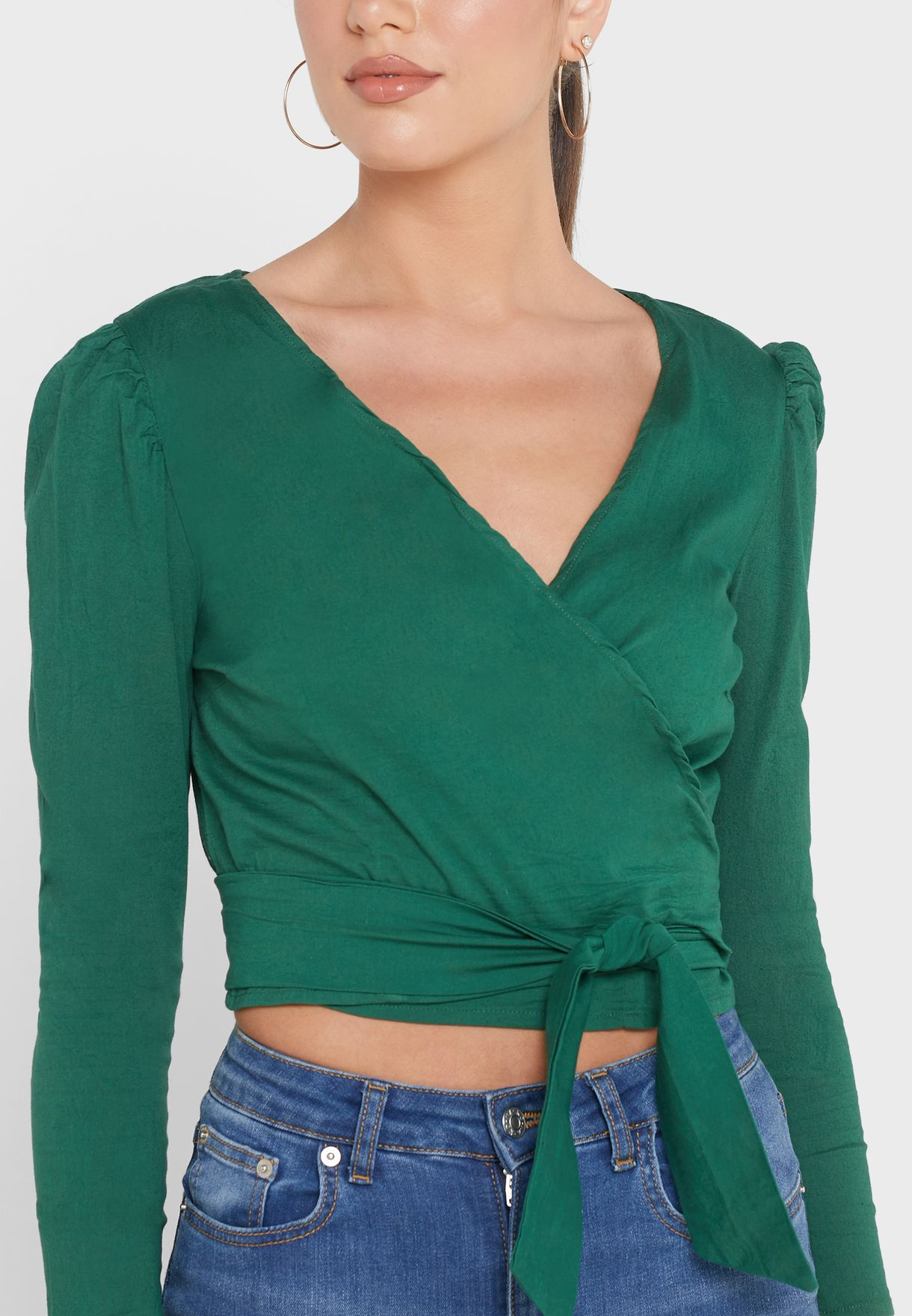 Ruched Sleeve Wrap Front Top