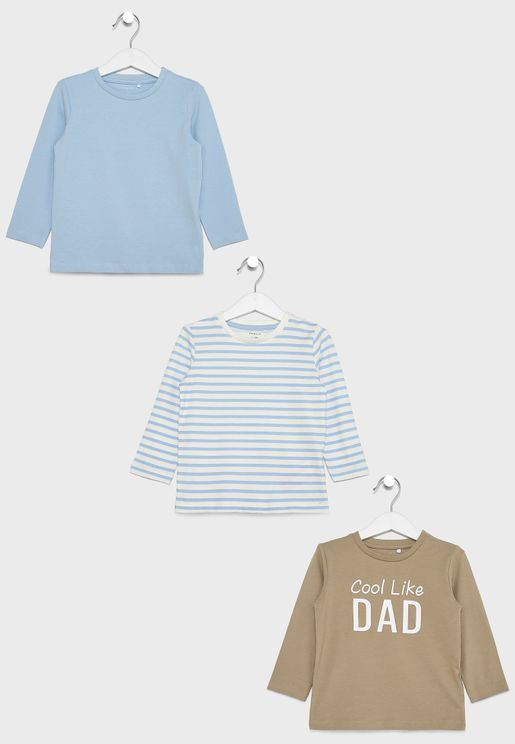 Kids 3 Pack Striped T-Shirt