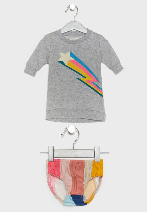 Infant Rainbow Graphic Dress + Knickers Set