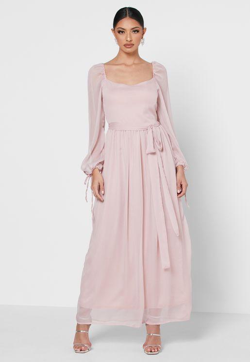 فستان بأربطة اكمام