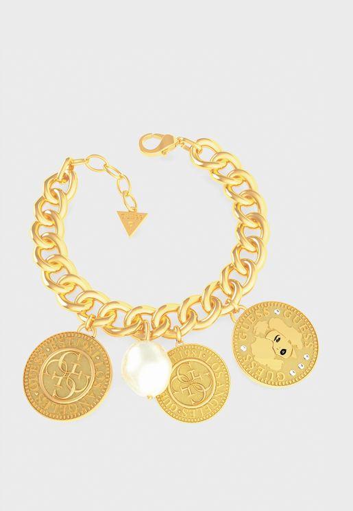 Three Coins Pearl Bracelet