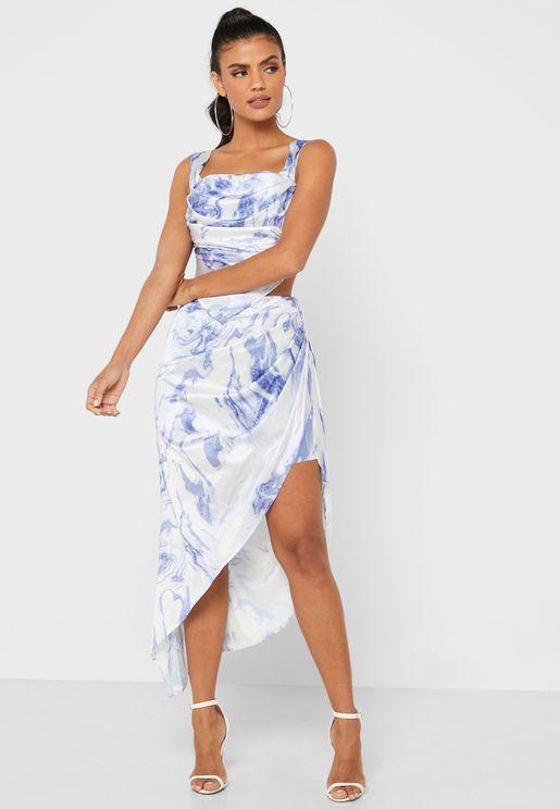Printed Drape Mini Skirt