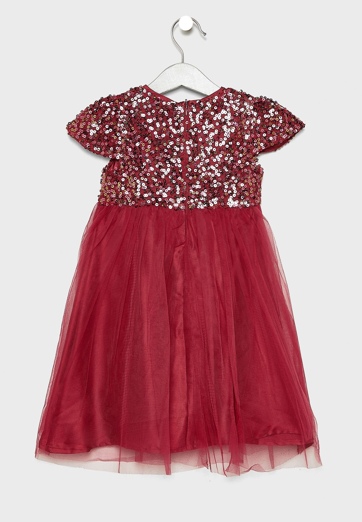 Kids Sequins Mesh Detail Dress