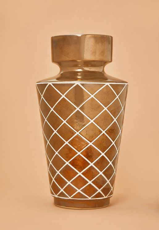 Large Gold Diamond Carved Vase