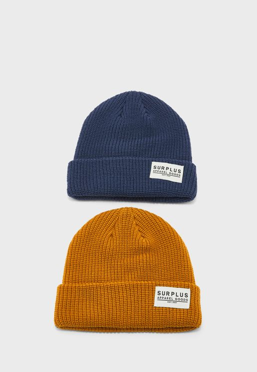 Kids 2 Pack Knitted Beanie