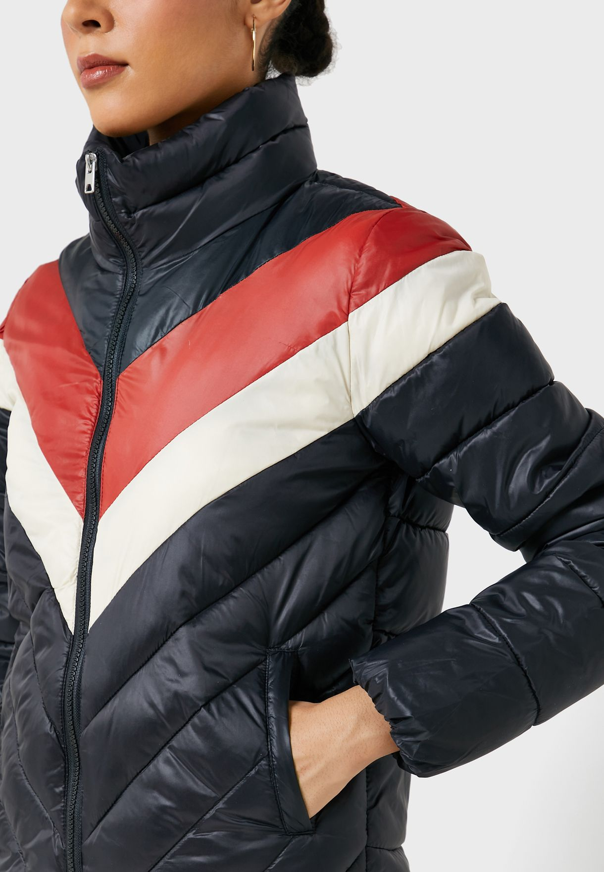 Colorblock Quilted Jacket