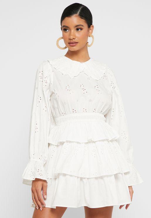 Collar Detail Tiered Mini Dress