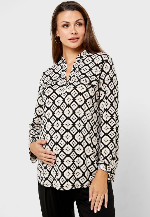 Geometric Print Roll Sleeve Shirt