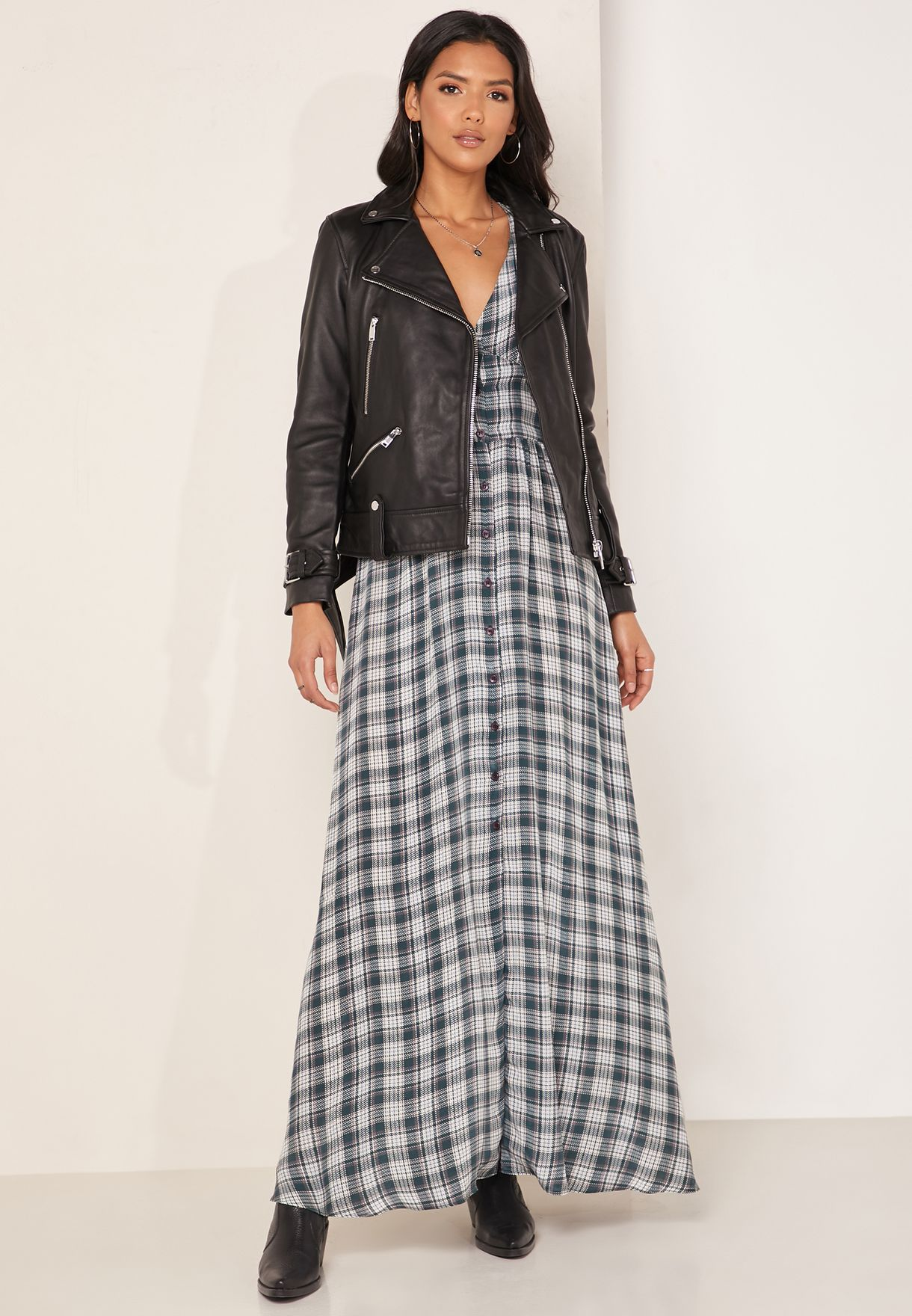 Checked Button Detail Maxi Dress