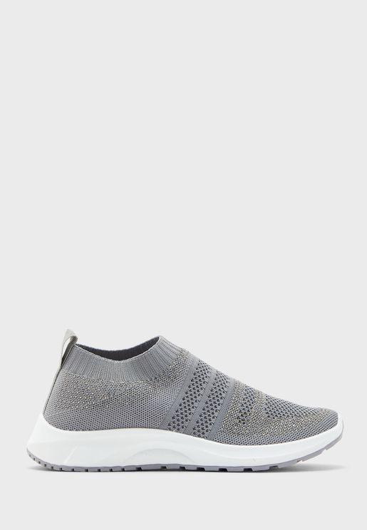Metallic Knit Pull On Sneakers