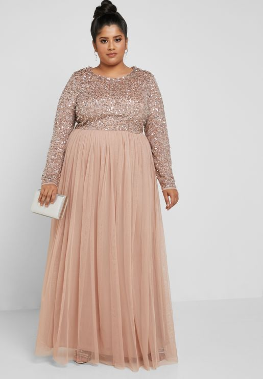 Sequin Detail Maxi Dress