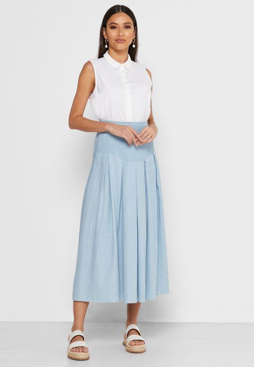 Box Pleat Midi Skirt