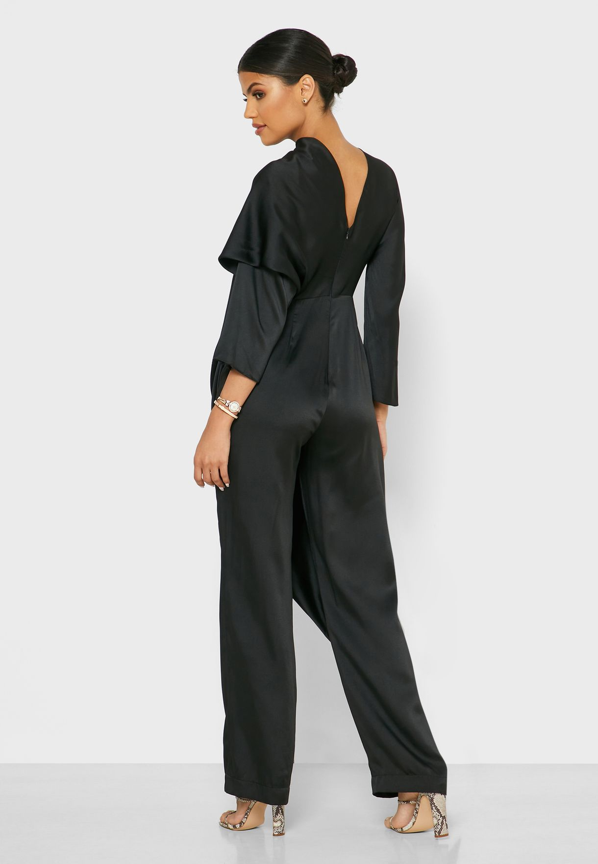 Draped Neck Belted Jumpsuit