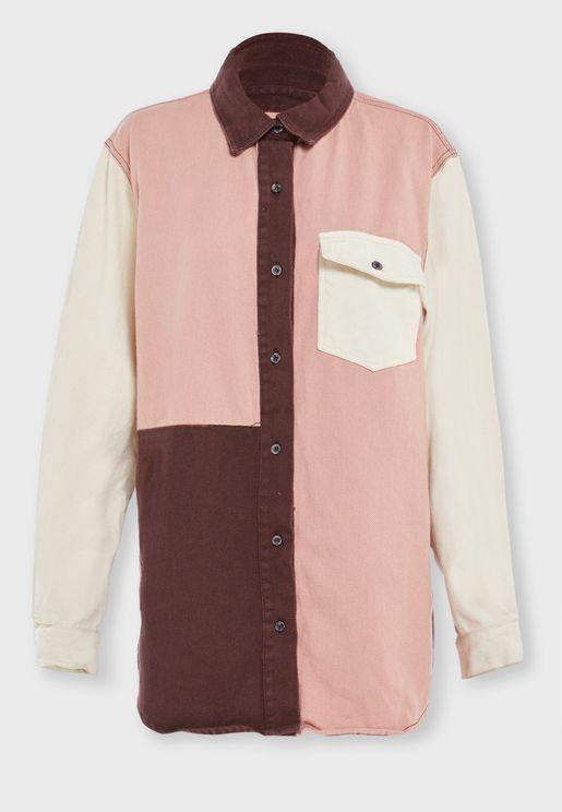 Colourblock Denim Shirt