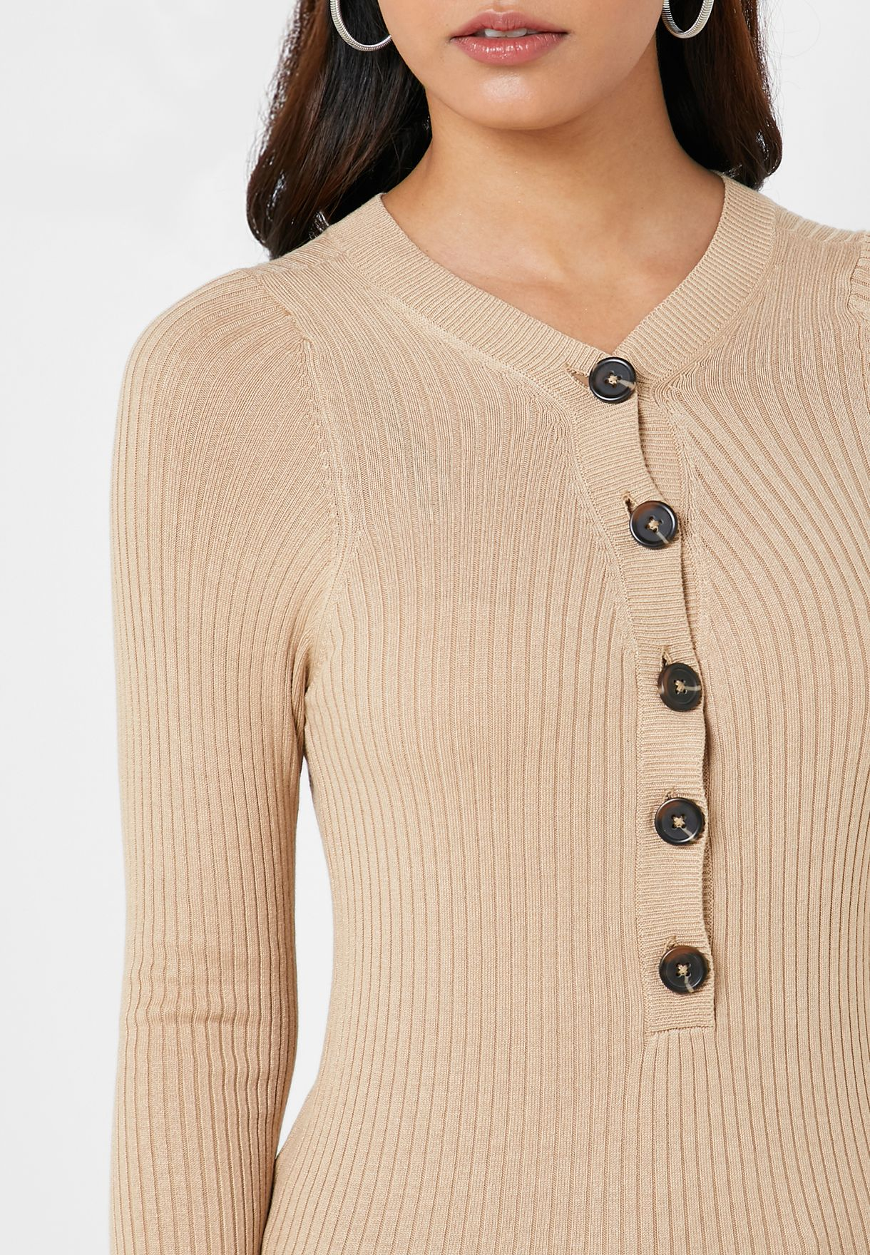 Ribbed Button Detail Sweater