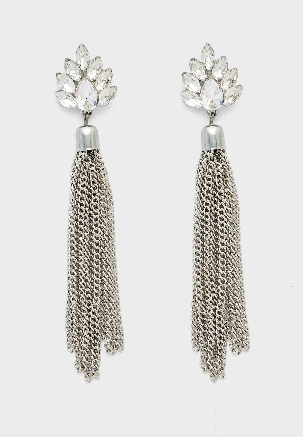 Stone Flower And Chain Tassel Earring