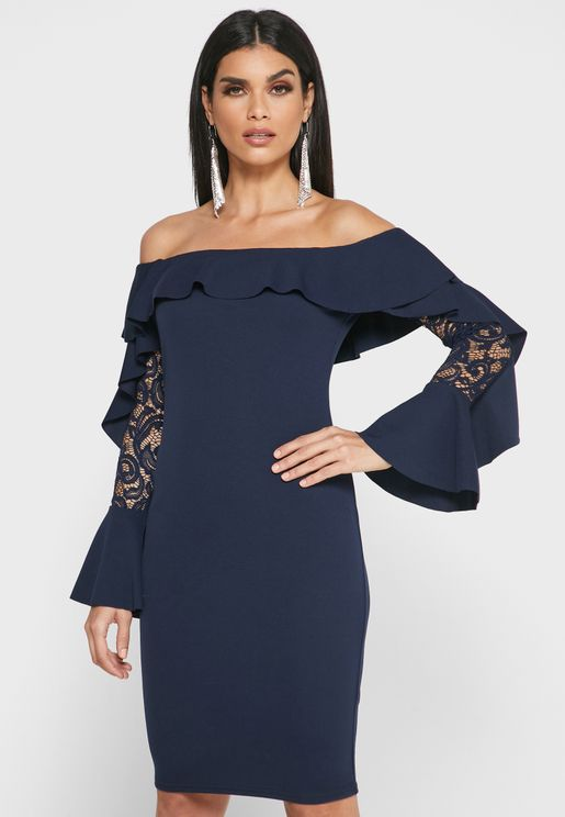 Lace Detail Bardot Dress
