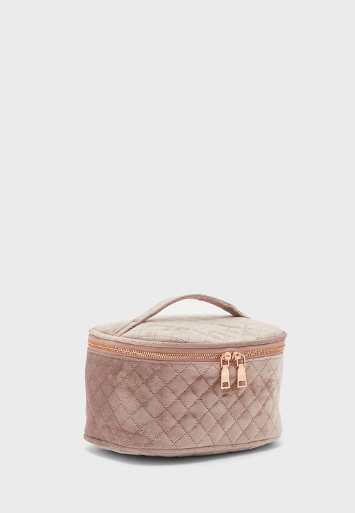 Pink Quilted Cosmetic Case