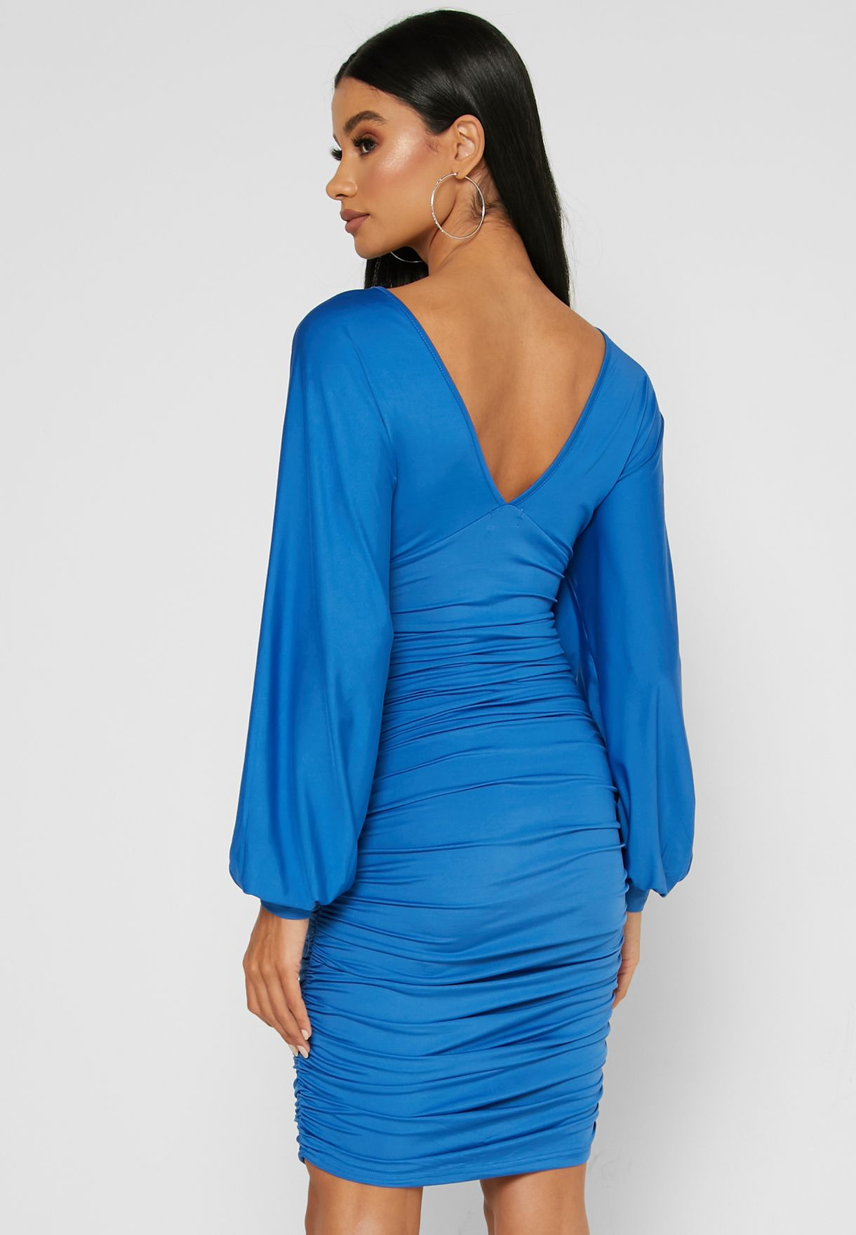 Low Back Ruched Mini Dress