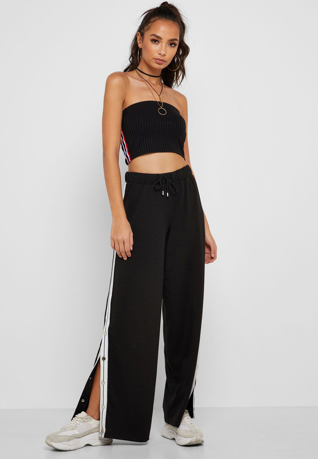adf8ceed590 Shop Forever 21 black Side Striped Bandeau Crop Top 323350 for Women ...