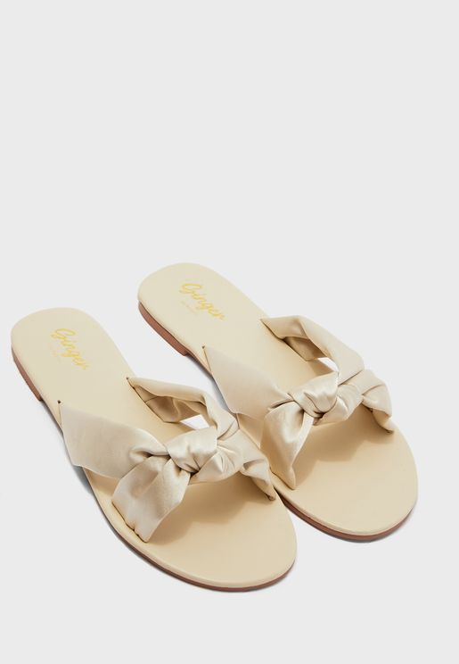 Satin Knotted Front Sandal
